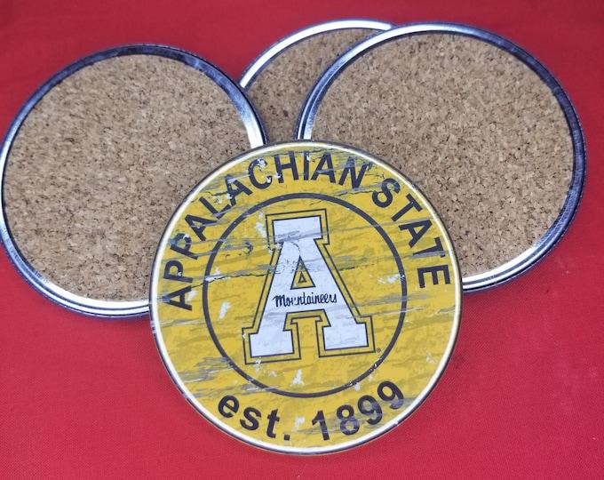 Appalachian State team coaster set, Appalachian State logo coasters, NCAA sports team coasters, Cork back coasters, Sport teams coaster