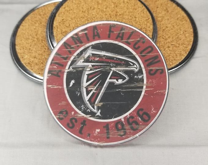 Atlanta Falcons coaster set, Falcons team logo coasters, NFL sports team coasters, Cork back coasters, Sport teams coaster sets