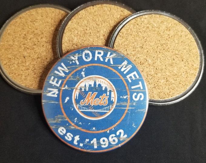New york mets coaster set, Mets team logo coasters, MLB sports team coasters, Cork back coasters, Sport teams coaster set, Mets team pride