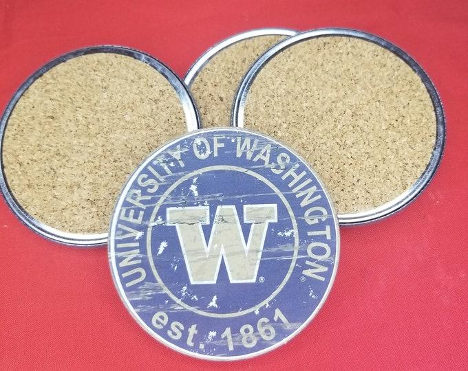 University of Washington team coaster set, University of Washington coasters, NCAA sports coasters, Cork back coasters, Sport team coaster