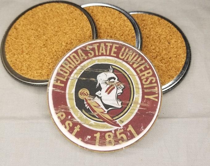 Florida State Seminoles coaster set, Seminoles team logo coasters, Football team coasters, Cork back coasters, Sport teams coaster sets
