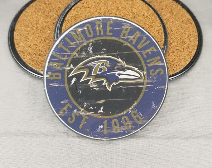 Baltimore Ravens coaster set, Ravens team logo coasters, NFL sports team coasters, Cork back coasters, Sport teams coaster sets