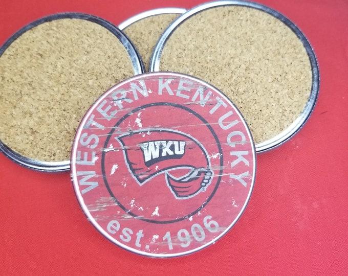 Western Kentucky University team coaster set, WKU team pride, NCAA sports coasters, Cork back coasters, Sport team coaster
