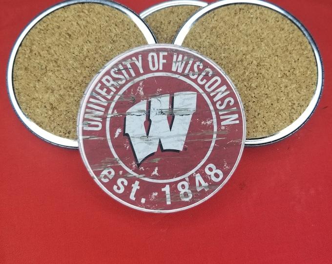 University of Wisconsin team coaster set, UW team pride, NCAA sports coasters, Cork back coasters, Sport team coaster