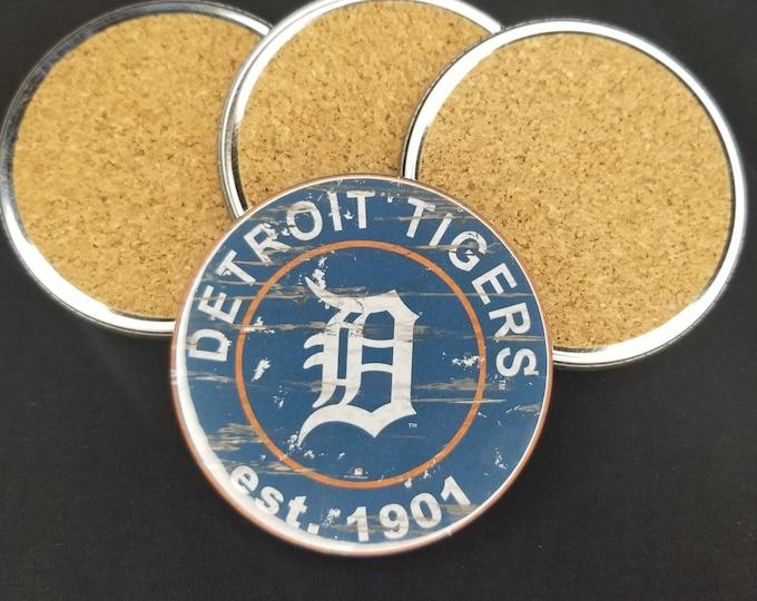 Detroit Tigers coaster set, Tigers team logo coasters, MLB sports team coasters, Cork back coasters, Sport teams coaster set, Tigers gift