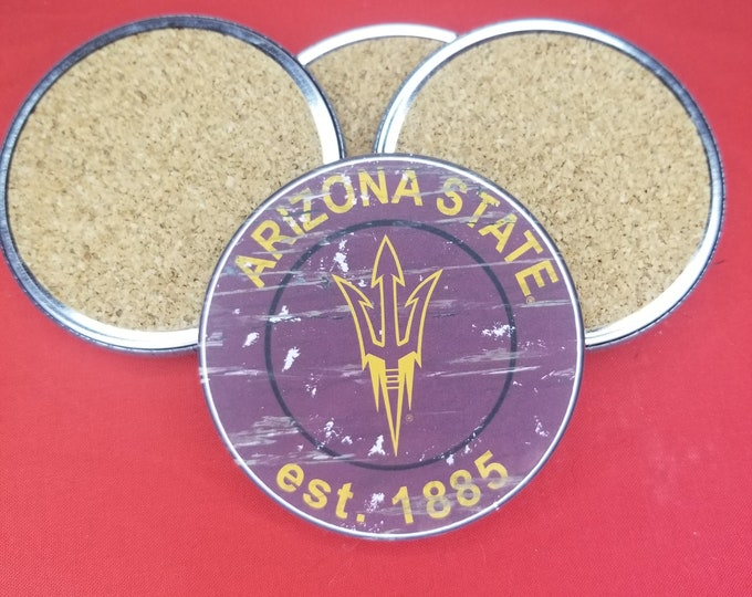Arizona State University team coaster set, Sun Devils team pride, NCAA sports coasters, Cork back coasters, Sport team coaster