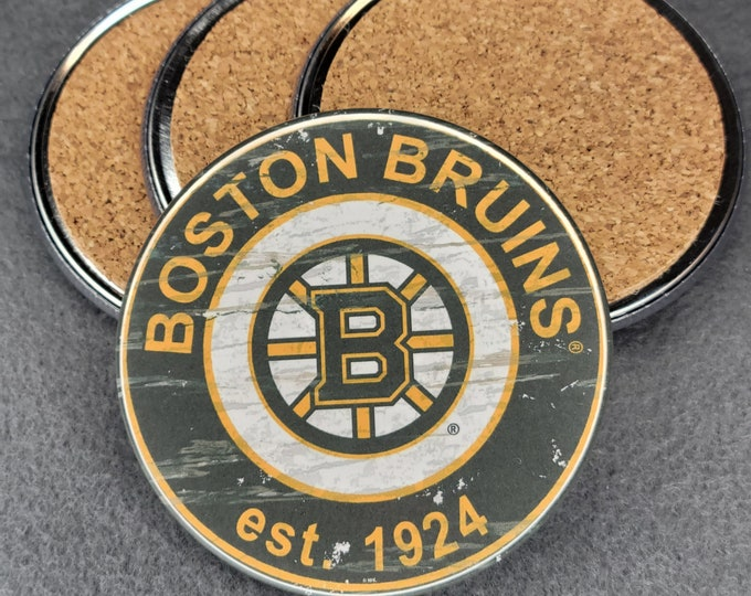 Boston Bruins coaster set, Bruins team logo coasters, NHL sports team coasters, Cork back coasters, Sport teams coaster sets