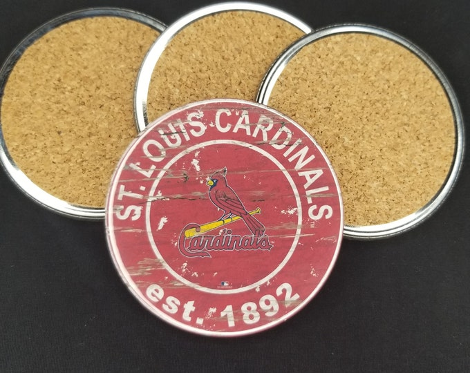 St. Louis Cardinals coaster set, Cardinals team logo coasters, MLB sports team coasters, Cork back coasters, Sport teams coaster set