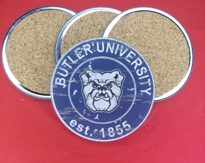 Butler University team coaster set, Butler University team logo coasters, NCAA sports team coasters, Cork back coasters, Sport teams coaster