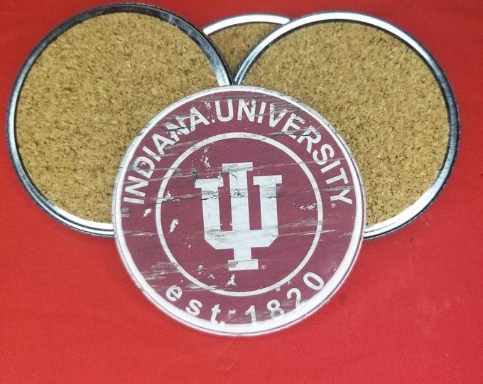 Indiana University team coaster set, Indiana University logo coasters, NCAA sports team coasters, Cork back coasters, Sport teams coaster