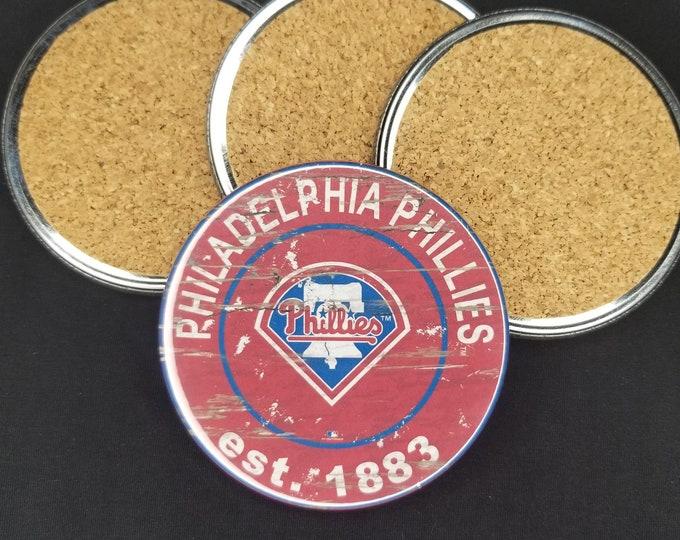 Philadelphia Phillies coaster set, Phillies team logo coasters, MLB sports team coasters, Cork back coasters, Sport teams coaster set