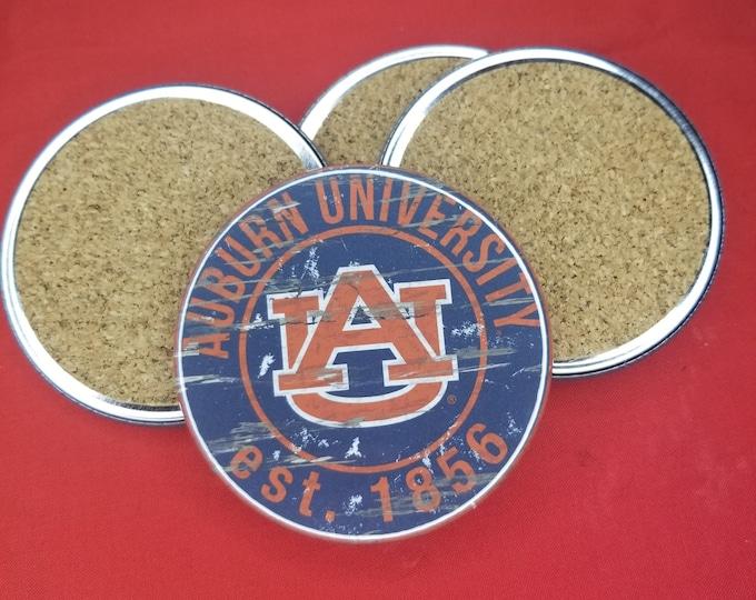 Auburn University team coaster set, Auburn University coasters, NCAA sports coasters, Cork back coasters, Sport team coaster