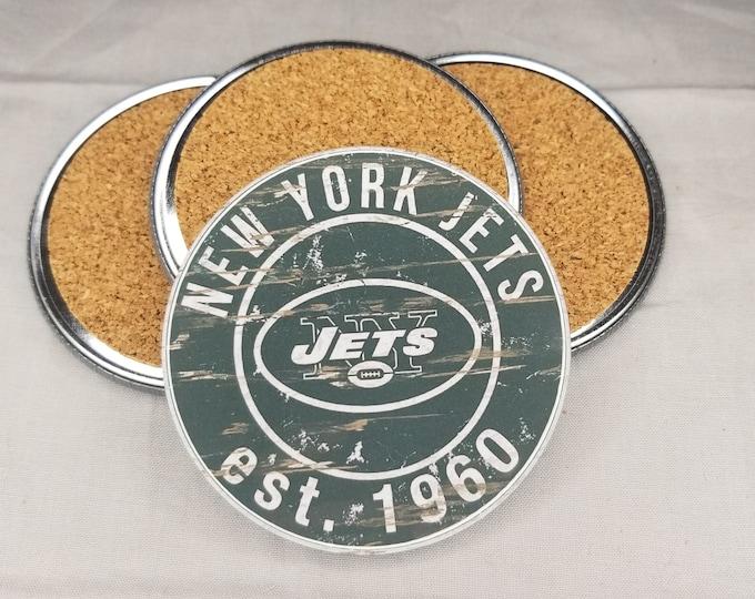 New York Jets coaster set, Jets team logo coasters, NFL sports team coasters, Cork back coasters, Sport teams coaster sets
