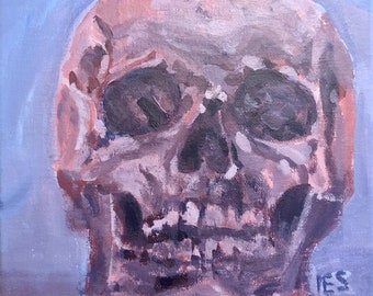 Pink Skull painting. 8x8in