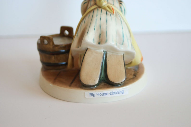 Girl Brush Cleaning Floor BIG HOUSE CLEANING \u2014 Hummel Goebel 1960 Rare Vintage German Figurine #363 \u2014 4
