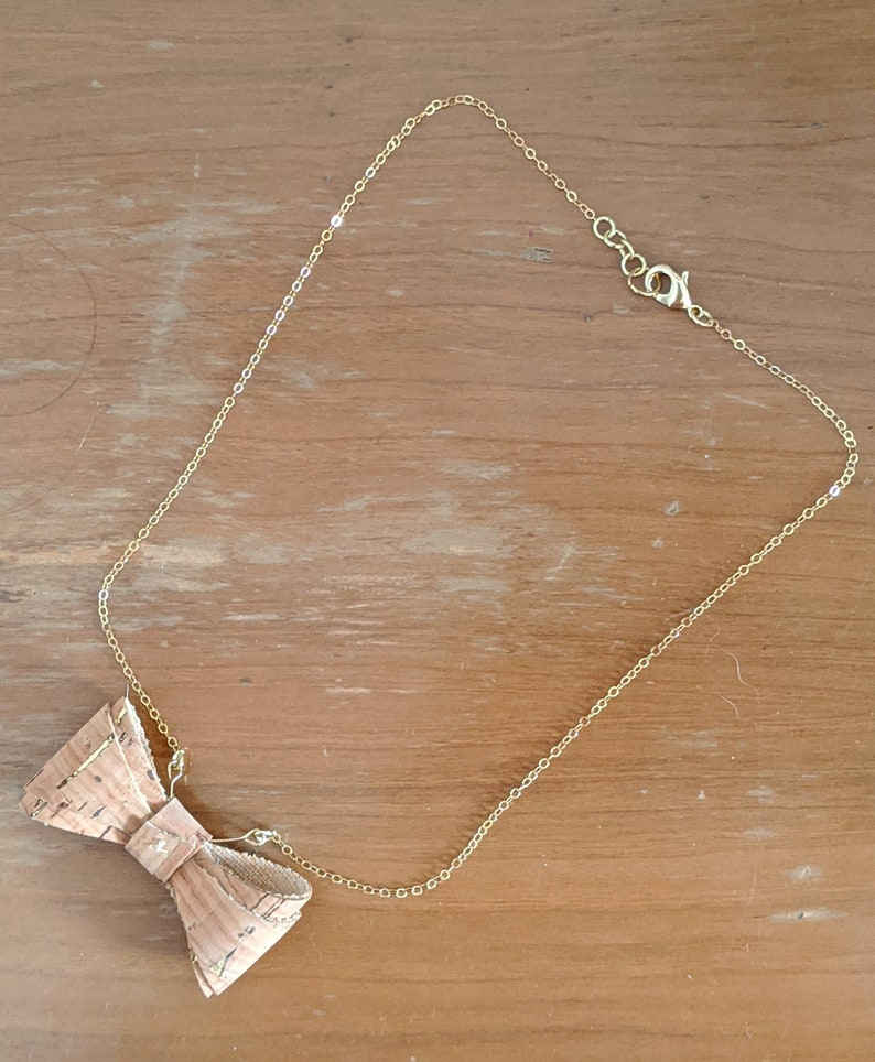 Necklace Cute Bow Cork Gold Charm Necklace  Take A Bow