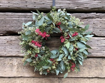 Fresh Eucalyptus Seeded and Pepperberry, fall, autumn, winter wreath for front door