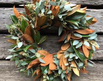Fresh Magnolia and Seeded eucalyptus Wreath Mixed Greens Decor Fall front door wreath decor autumn