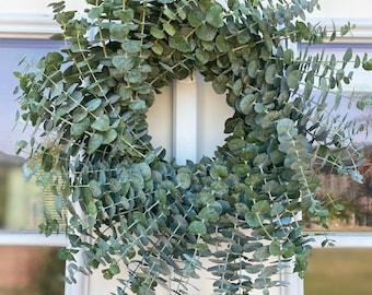 Fresh baby blue wreath eucalyptus front door decor fall, autumn, winter