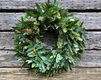FRESH Eucalyptus seeded, Bay leaf, Rosemary wreath. Very fragrant wreath. Home decor fall autumn wreath for front door