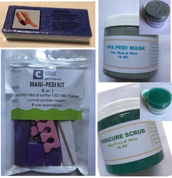SPA Pedicure Set, Mani-Pedi Tool Kit, Pedicure Scrub, SPA Pedicure Clay Mud Mask
