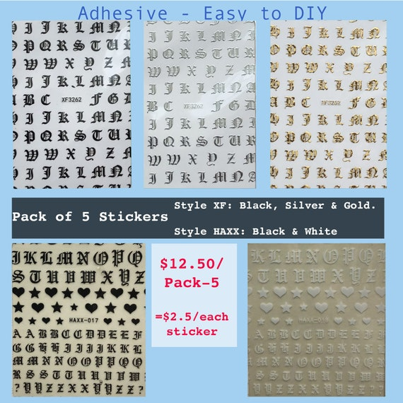 Bundle of Nail Stickers: Old English Letters, Adhesive - Easy to DIY