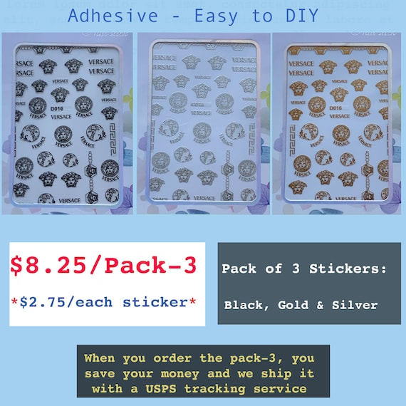 Bundle of Nail Stickers: D016, Adhesive - Easy to DIY