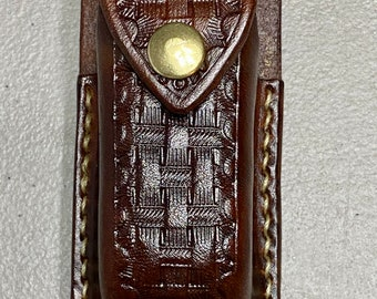 Hand crafted embossed leather pocket knife, folding knife sheath, holder, holster, gift for him, USA made