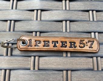 Bible Verse Leather Keychain, Customize, Personalized, key fob, zipper pull, Christian, gift, stocking stuffer