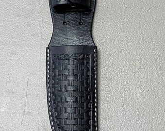 """Hand Crafted Leather Knife Sheath - up to 5"""" Blade - Black"""