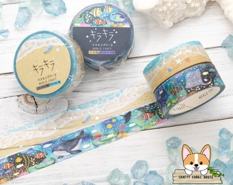 Shell Japanese Washi Masking Tape Oncean Watercolor Washi Tape Sea 15mm Blue Silver Foil Washi Tape