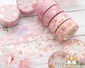 1 - 2 - 4 pc set 15mm Cherry Blossom Washi Tape ROLL or SAMPLE Sakura Petals - Snow Sakura - Sakura Flowers - Ephemeral Sakura BGM