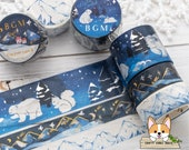 15mm - 30mm Foil Stamping Winter Night Washi Tape Winter Limited Snowy Mountain Washi Crayon Collection Starry Mountain Washi BGM