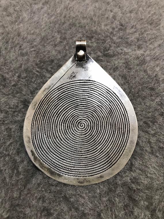 Moroccan Berber Silver Spiral Pendant,Berber Penda