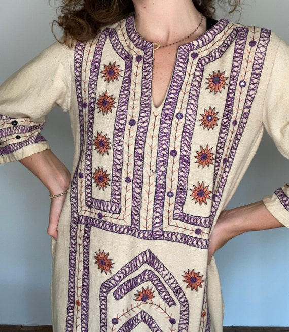 Rare 1970s Hand Embroidered Cotton Canvas Dress, … - image 5