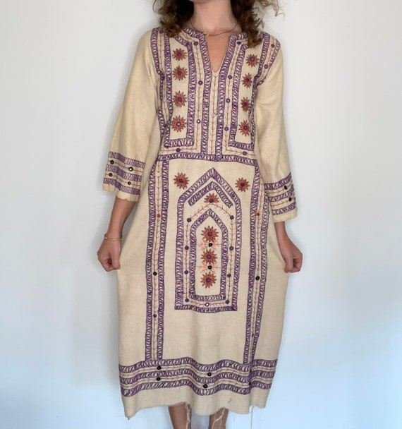 Rare 1970s Hand Embroidered Cotton Canvas Dress, … - image 2