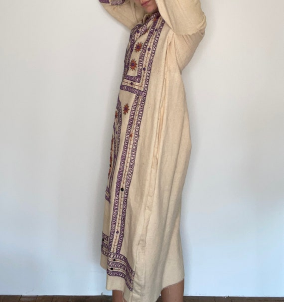 Rare 1970s Hand Embroidered Cotton Canvas Dress, … - image 3
