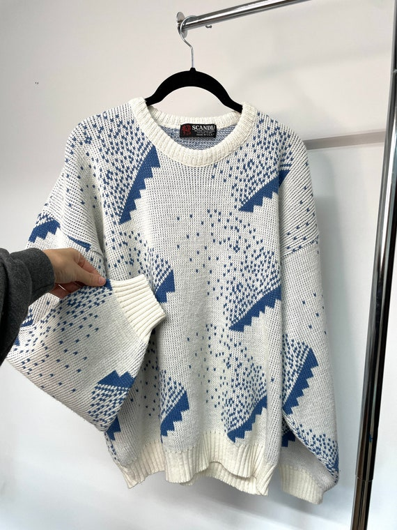 Vintage 1980s Scandinavian Abstract Sweater, Blue