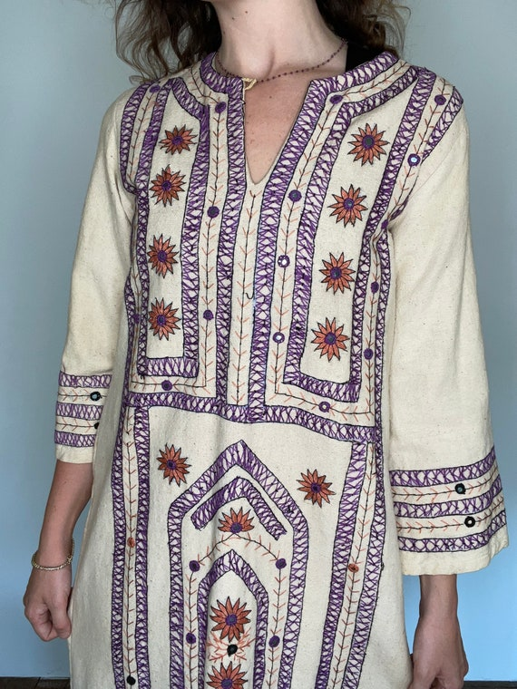 Rare 1970s Hand Embroidered Cotton Canvas Dress, … - image 4