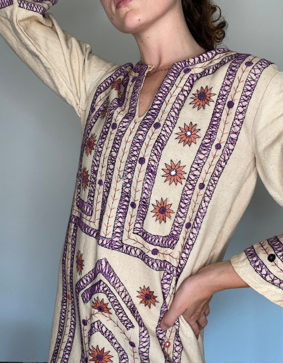 Rare 1970s Hand Embroidered Cotton Canvas Dress, … - image 7