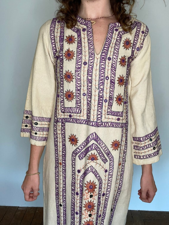 Rare 1970s Hand Embroidered Cotton Canvas Dress, … - image 6