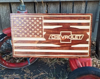 Wooden American Flag - Chevrolet Fan Gift - Rustic Home Decor - Hanging Man Cave Sign