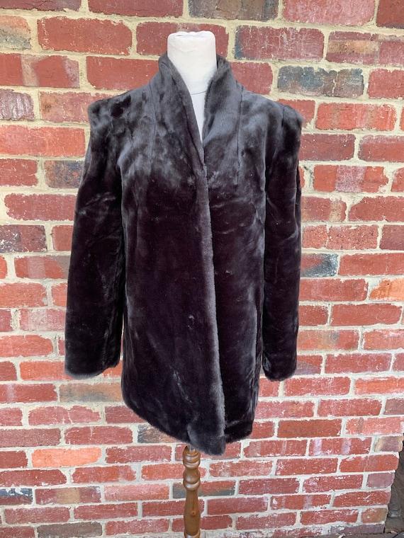 Vintage Fake Fur Coat 1960's  / Vintage Charcoal F