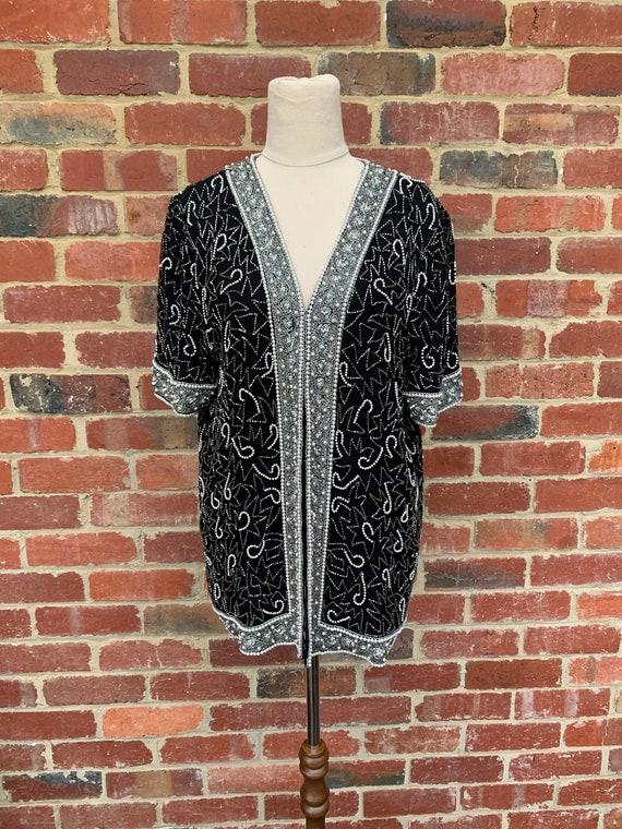 1980s Vintage Silk Beaded Blazer /  Sequin Jacket