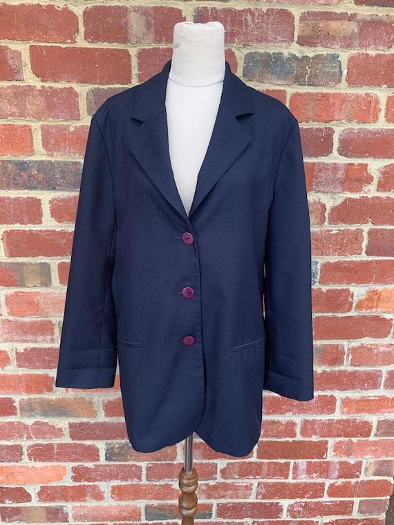 Vintage Blazer 90s / 90s Blazer Jacket / Navy Blaz