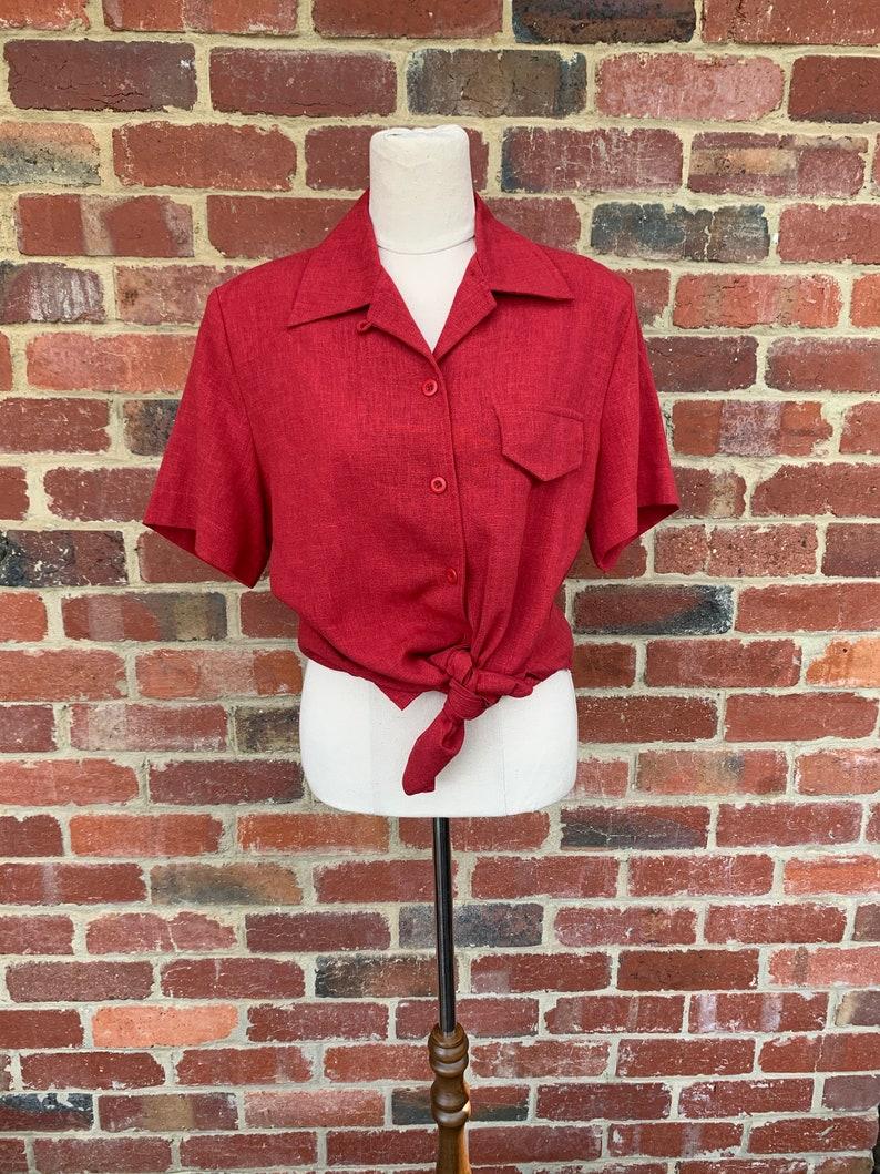 Vintage 1980/'s Blouse  Red Vintage Blouse  Dolina Vintage Blouse  Short Sleeved Vintage Blouse  Size 10 Ladies Vintage Blouse