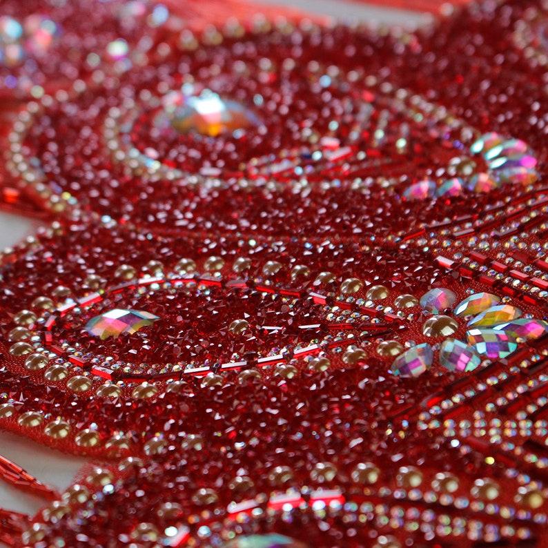Long Beading Fringe Tassel Rhinestones Collar Crystal Rhinestones Applique Handmade Patches Bodice  1 piece