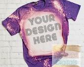 Bleached Gildan Softstyle Heather Purple 64000 Shirt Mock-up White Brick Neutral background Shirt Mock-up, DIGITAL FILE ONLY