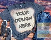 Bleached Gildan Softstyle Dark Heather 64000 Shirt Mock-up Wood background Shirt Mock-up, DIGITAL FILE ONLY