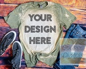 Bleached Gildan Softstyle Heather Military Green 64000 Shirt Mock-up Wood background Shirt Mock-up, DIGITAL FILE ONLY